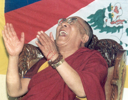 Laughing hands - the Dalai Lama laughs a lot!